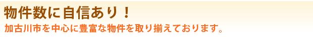 物件数に自信あり! 加古川市を中心に豊富な物件を取り揃えております。